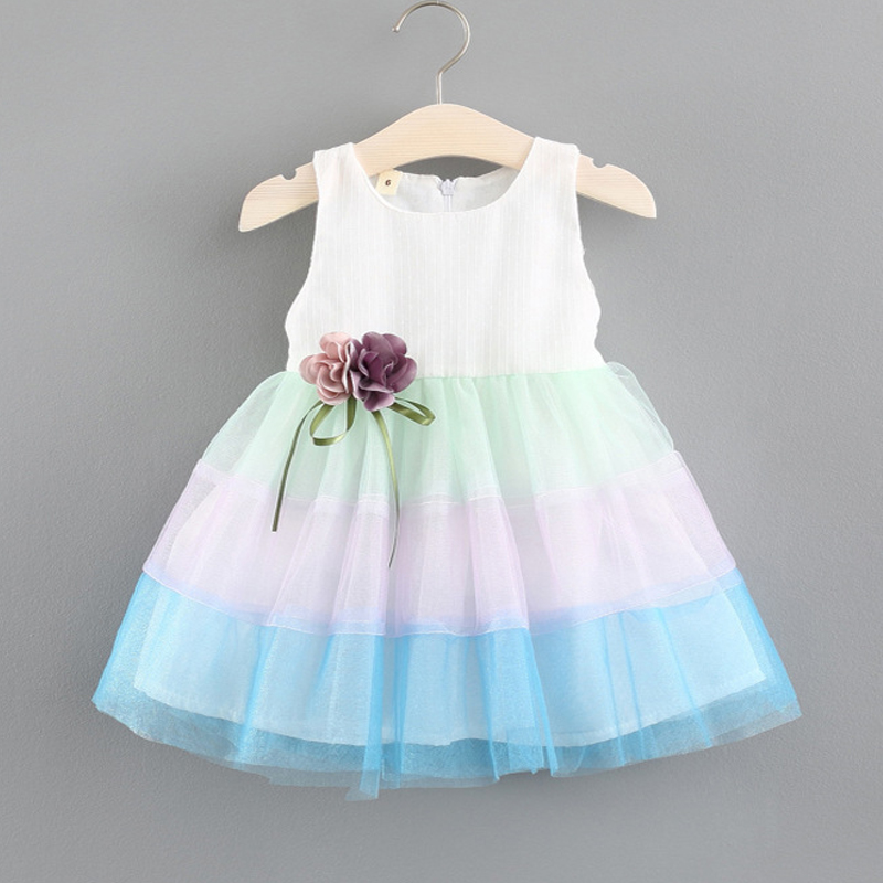 New 2018 1-5 Year Baby Girl Dresses Summer Girls Tie Bow Vest Dress Girls Stitching Color Sleeveless Dress Baby Clothes