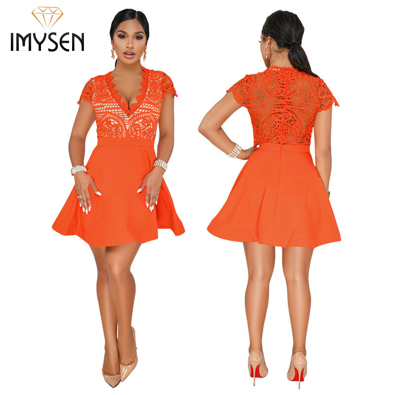 IMYSEN New Arrive Lace Dress Summer Solid V Neck Short Sleeved A Line Dresses Empire Orange Vestido