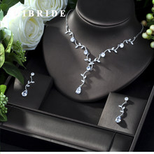 HIBRIDE 2019 New Wedding Costume Accessories Cubic Zircon Crystal Bridal Earrings And Rhinestone Necklace Jewelry Sets For Bride(China)