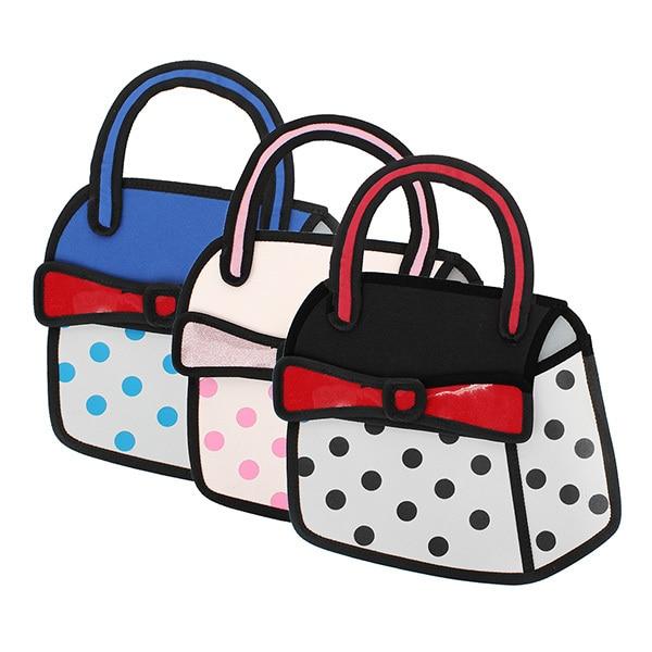 Drop Shipping Women 3d Jump Style 2d Drawing From Cartoon Paper Bag Comic Small Tote Purse Handbags Messenge Bags Bag Hand Bag Bracketbag Diaper Aliexpress