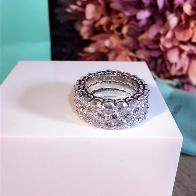 CZ Стерлингового Серебра 925 Обручальное Кольцо Полный ААА Корень Циркон женщины Белое Золото Круглый Свадебные Кольца Палец Эль anillo де diamantes