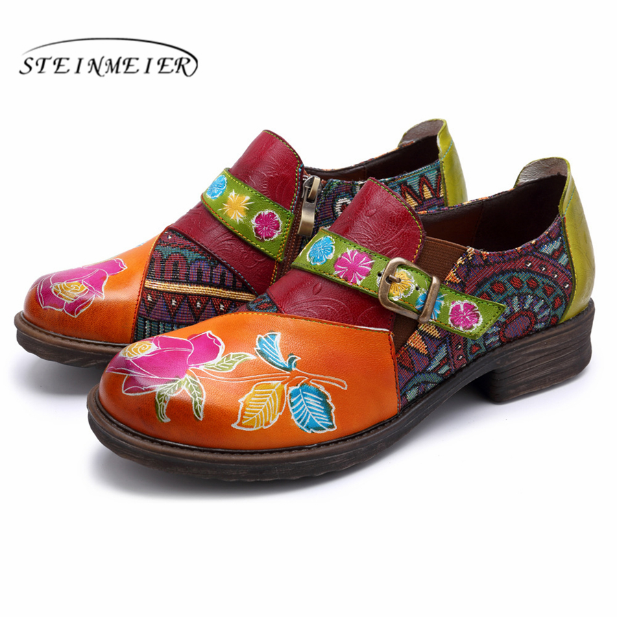 Genuine cow leather brogues designer vintage flat casual shoes round toe handmade oxford shoes for women