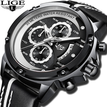 2019 LIGE New Fashion Quartz Watch Men Leather Top Brand Luxury Business Clock Male Waterproof Sport Chronograph Erkek Kol Saati