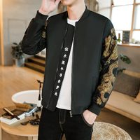 Gold Print Bomber Jacket Men Chinese Letter Print Black Vintage Jacket Men Bomber Outwear Japanese Casual Male Jacket Plus 5xl