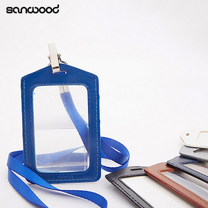 Fashionable Name Tag ID Badge Card Holder Women Men Pu Leather School Office Stationery Supplies Frame Clear Case Cover Lanyard