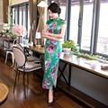 Vintage Green High Quality Grosgrain Silk Cheongsam Summer Qipao  Design Long Silk Cheongsam DressQP65