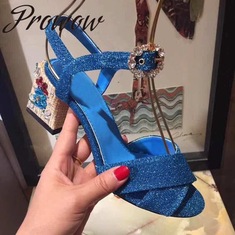 Prowow New Sexy Open Toe Summer Sandals Brand Designer Crystal Heel HIgh Heel Sandals Shoes Women Crystal Buckle Strap Sandals