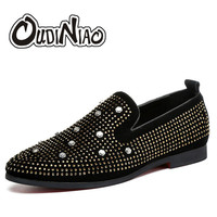 OUDINIAO Fashion Flock Loafers British Style Slip On Shoes Men Breathable Designer Mens Shoes Casual Pointed