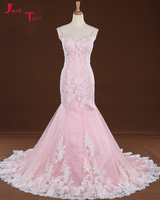 Jark Tozr Vestidos De Noiva Spaghetti Straps Lace Up Back White Pink Tulle Luxury Mermaid Wedding