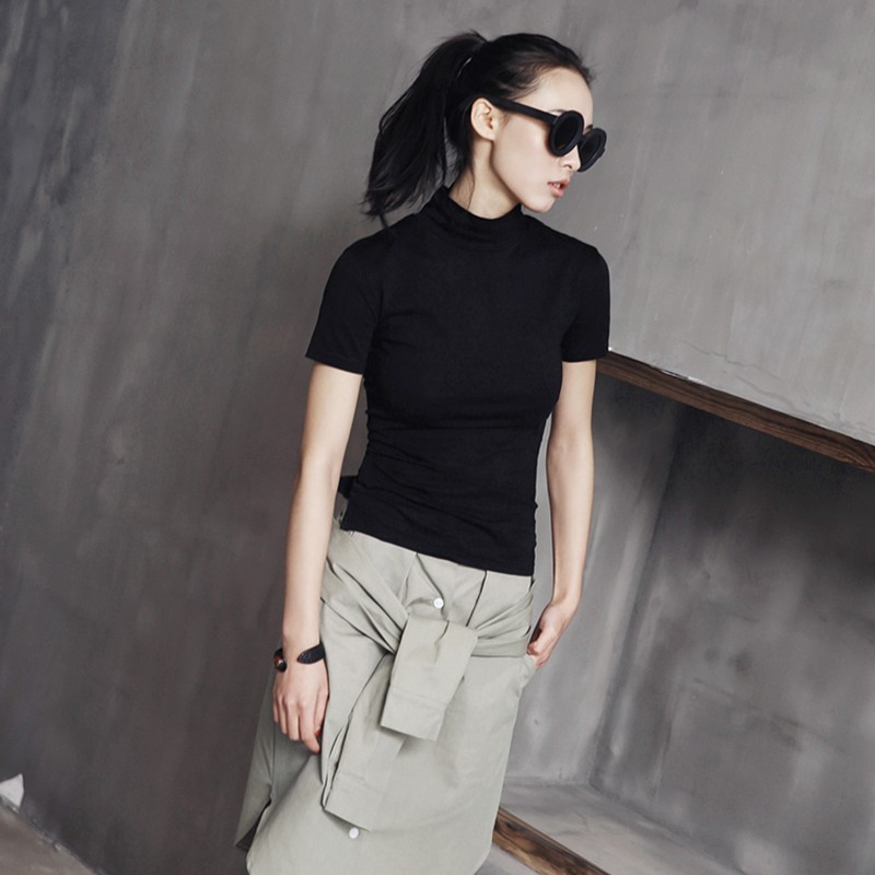 [EAM] Women White Brief Vent Cool High Elastic T-shirt New Turtleneck Short Sleeve  Fashion Tide  Spring Summer 2020 JL447 3