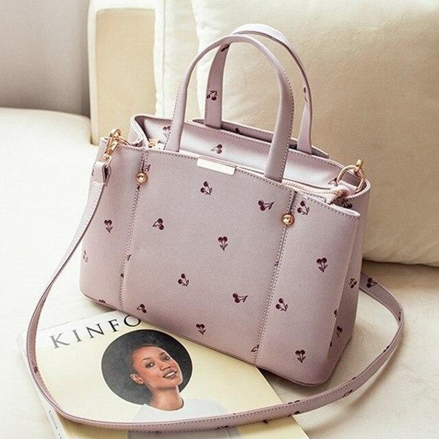 Large Women Top-handle Bags Fashion Brand Designer Shoulder Bag Printing Cherry Bag Candy Color Women Tote Cute Messnger bag