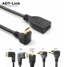 Up Down Rechts Links Schuin Mini HDMI naar HDMI Man vrouw Kabel 10 cm voor Laptop PC HDTV Type C hdmi mini hdmi Hoek adapter