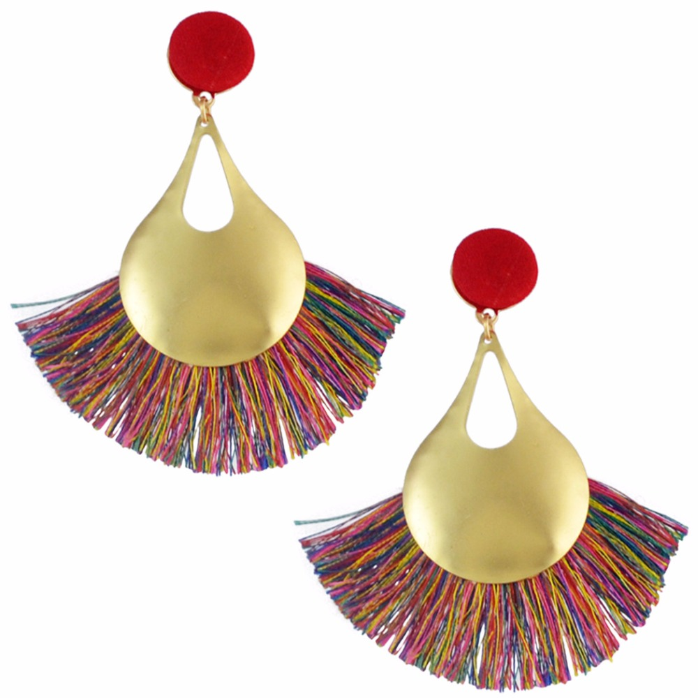 7 Colors Trendy Bohemian Design Gold Thread Tassel Drop Dangle Earrings For Women Party Button Fringe Earrings Jewelry