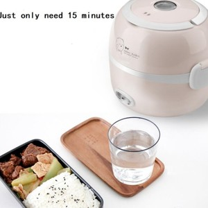 220V MINI rice cooker insulation heating electric lunch box 2 layers Portable Steamer multifunction automatic Food Container EU