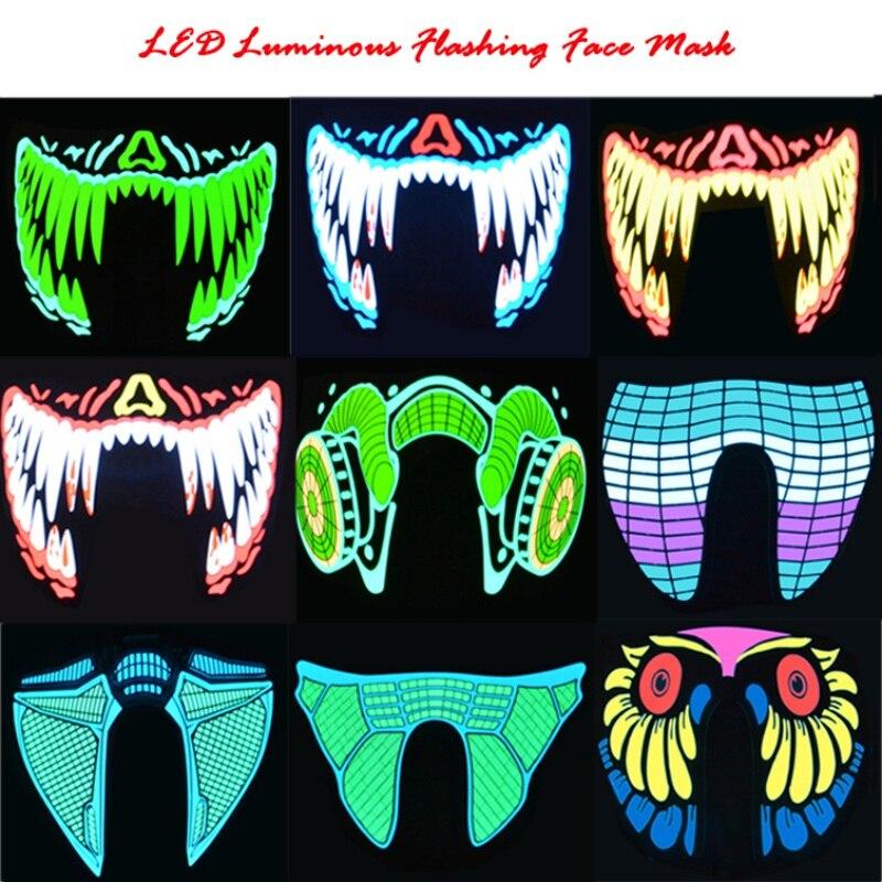 LED de Halloween máscaras ropa grande Terror máscaras luz fría casco fuego Festival Fiesta brillante danza constante en el conductor