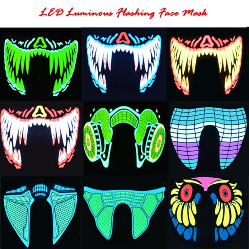 Halloween FÜHRTE Masken Kleidung Große Terror Masken Kalte Licht Helm Feuer Festival Party Glowing Dance Dauerlicht Fahrer