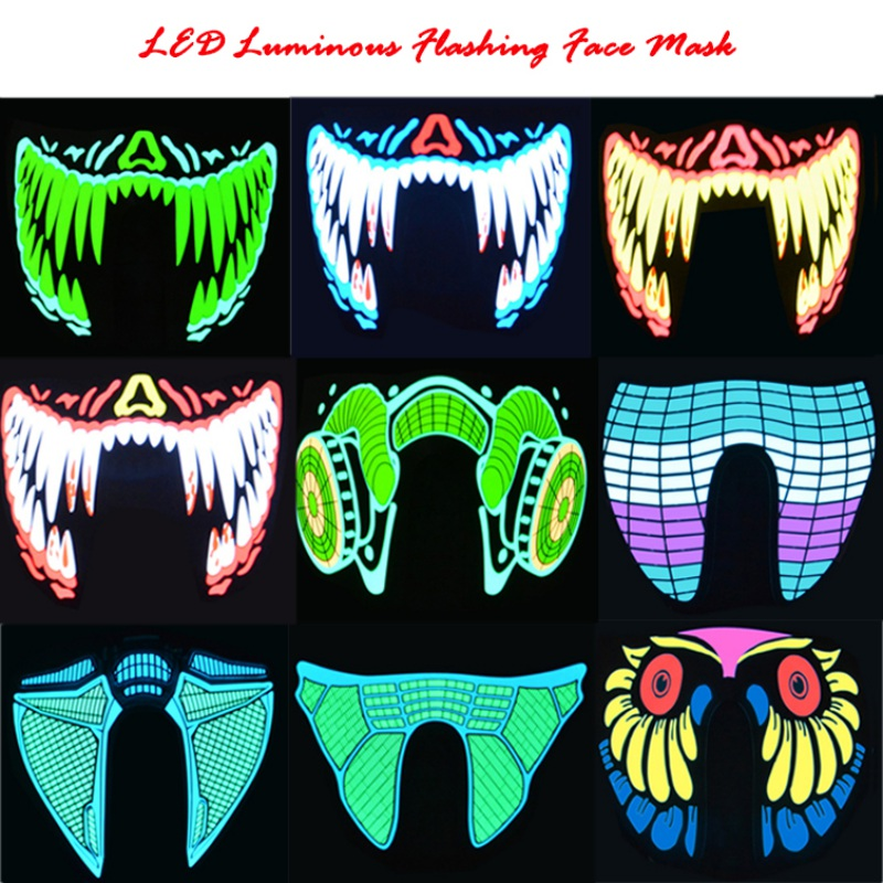Roupas Grandes Máscaras de Terror Halloween Máscaras LED Luz Fria Capacete Fogo Festival Partido Glowing Dança Em Constante Motorista