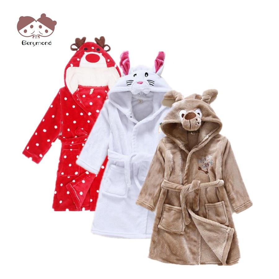 Girls Bath Robe Fashion Dressing Gown Children Bathrobes Sleeping Dress Animal Head Flannel Material Kids Long