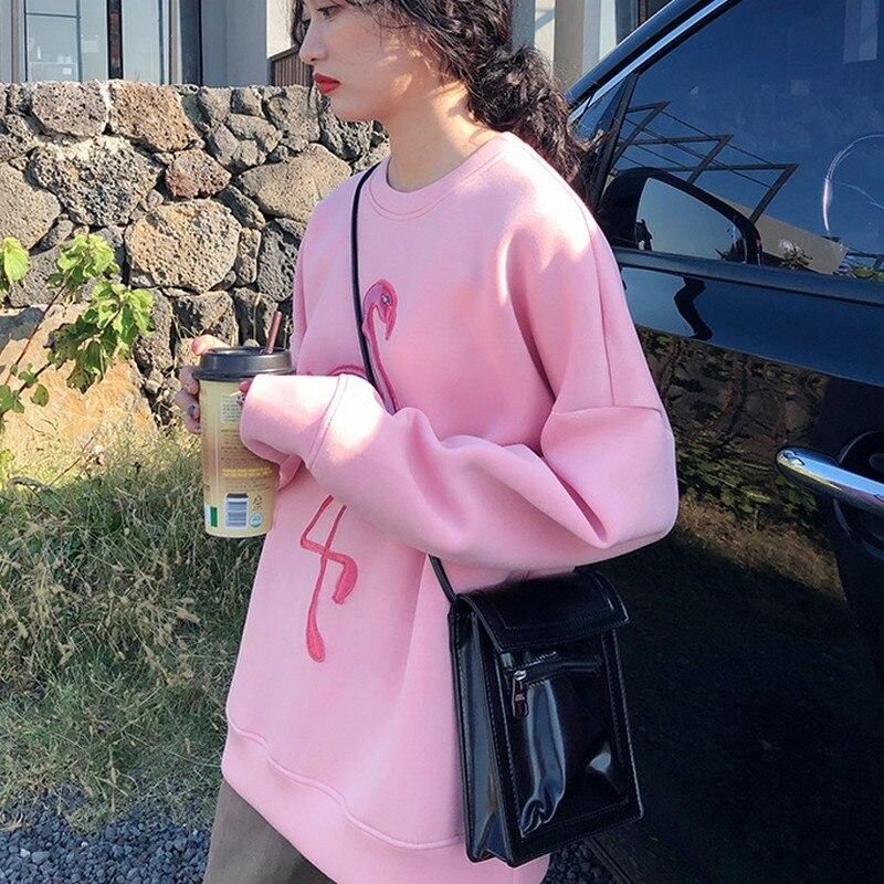Pink Flamingo Embroidery Space Cotton Sweatshirt 3