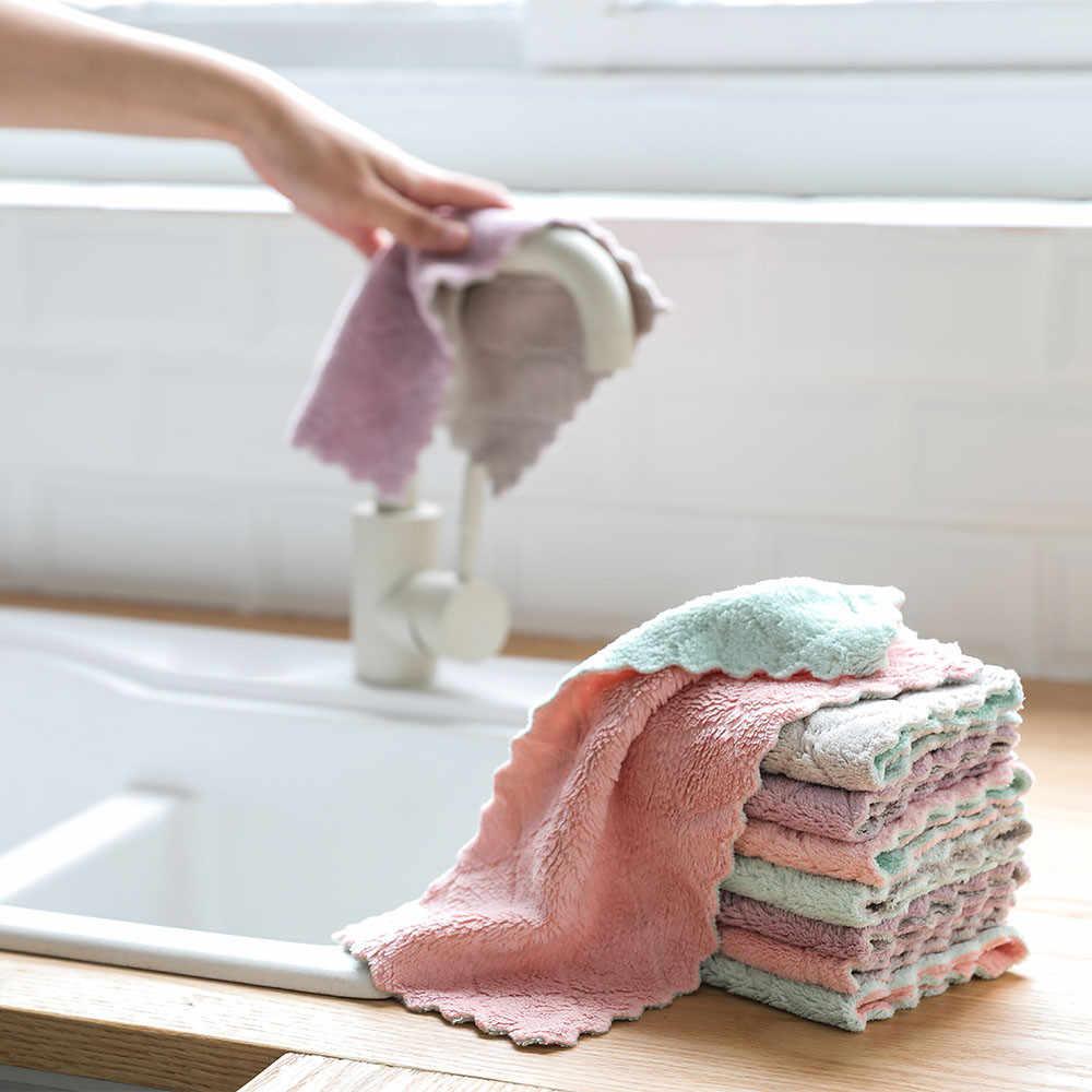 ستوكات معلقة مناشف اليد المطبخ طبق القماش عالية الكفاءة غير لاصقة النفط المرجان المخملية أدوات المائدة المنزلية تنظيف منشفة