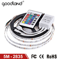 Goodland RGB LED Strip Light 2835SMD 12V Flexible Light 5M RGB LED Tape Home Decoration Lamps Changeable IR Remote Controller
