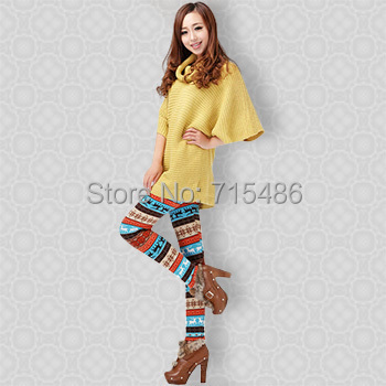 Winter Leggings for Women Thick Colorful Leggings ML7568 Crystal Pattern Snowflakes Women's Elk Knit  Winter Warm Leggings