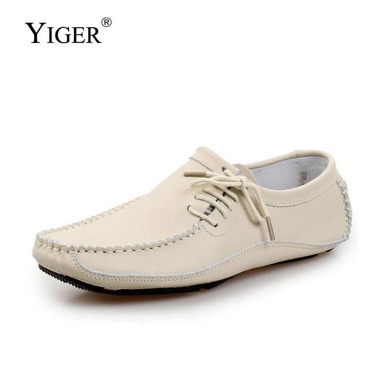 YIGER NEW Men's Large Size Peas Shoes Casual Genuine Leather Loafers Handmade Driving Shoes Four Seasons Comfort Paragraph 0058