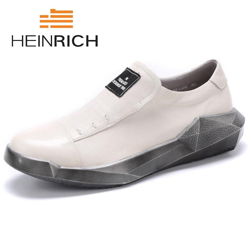 HEINRICH 2018 New Top Quality Men Shoes Casual Genuine Leather Flat For Adults Breathable Light Soft Flats Sapato Branco 2016 new winter hot quality cheap men shoes casual genuine fashion flat for adults trainers breathable light soft flats