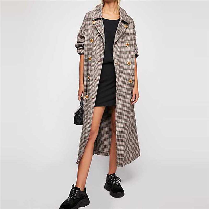 spring autumn western style fashion loose drape plaid double-breasted long sleeve SM L XL XXL woman's Casual X-long   Trench   coat