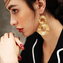HOCOLE Fashion Oversize Round Drop Earrings For Women Gold/Silver Hanging Dangle Earring Statement Brincos Wedding Party Jewelry