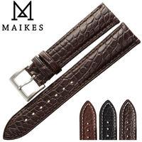 MAIKES Luxury Alligator Watch Band 18mm 19 20mm 22mm 21 24mm Genuine Crocodile Leather Watch Strap