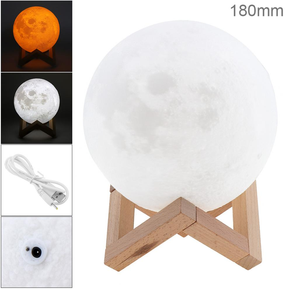 18CM Rechargeable 3D Print Moon Lamp with 2 Color Change Touch Switch to Adjust The Brightness for Creative Gift / Decoration