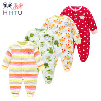 HHTU Autumn Winter Baby Rompers Clothes Long Sleeved Coveralls For Newborns Boy Girl Polar Fleece Baby