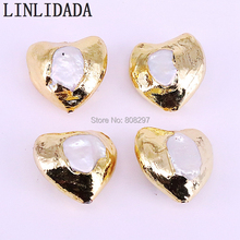 8Pcs Fashion Gold Electroplated White Pearl Heart shape Loose Beads Connector Pendants Accessories