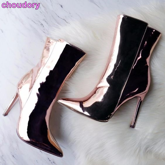 Ladies Street Shot Style Popular Ankle Boots Pointed Toe Silver Champagne Gold Patent Leather Dress Boots Rose Gold Elegant Shoe shot shot style ska