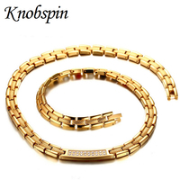 High Quality Men S Health Care Necklace Gold Color Stainless Steel Chain With AAA CZ Magnets