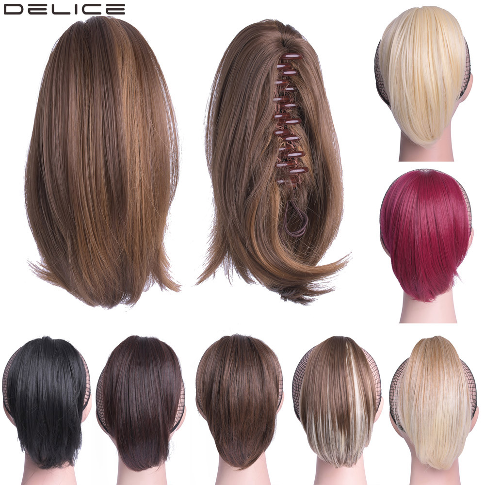 Delice 8inch Women 39 s Short Straight Ponytail Clip In Claw Little Ponytails High Temperature Fiber Synthetic Hairpieces in Synthetic Ponytails from Hair Extensions amp Wigs