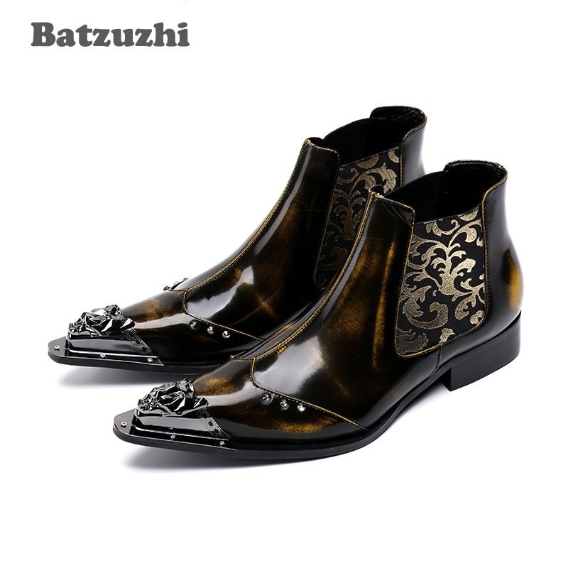Batzuzhi Luxury Genuine Leather Men Shoes Pointed Toe Metal Tip Men's Dress Boots Fashion Embroidered Men Botas Hombre, EU38-46