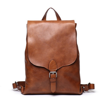 The first layer of vegetable tanned leather men's shoulder bag, handmade color personality women's backpack large capacity compu