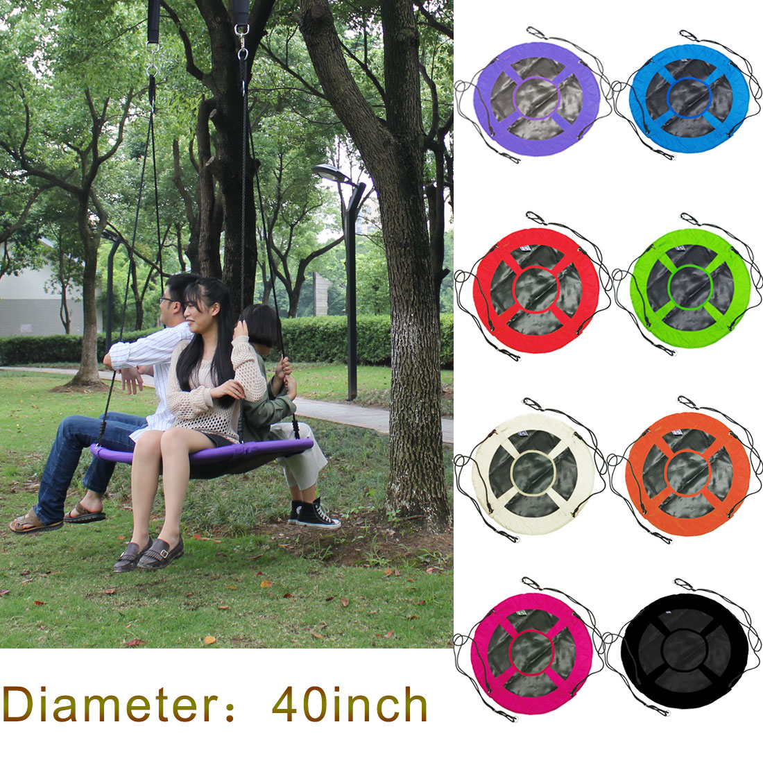 "New Brand 8 Colors Baby Toy Swing Giant 40"" Baby Swing Chair Outdoor Child Swing With 400 LBS Weight Capacity Tree Swing"