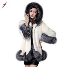 2017 Plus Size 6XL fashion faux fur coat women Silver Fox Fur Collar  Hooded Mink Fur Coat Speaker sleeves woman Overcoat Hot