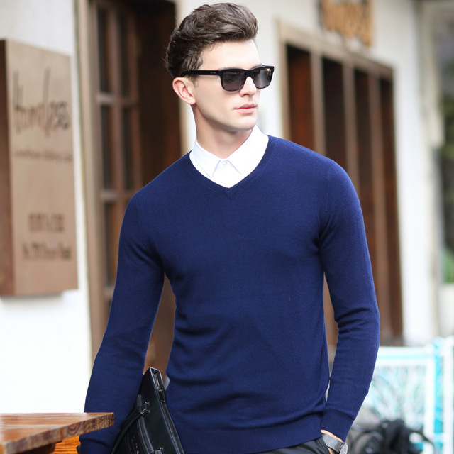Men's Sweater 100% Pure Wool Sweater Male Long Sleeved Sweater Mens 2016 Winter Sweater V Solid Collar Sleeve Head