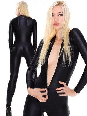 Free Shipping Cheap Sexy Black Unisex Lycra Suit Spandex Zentai Catsuit Halloween Costume Front Zipper