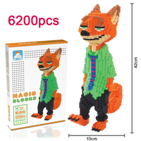 DOLLRYGA 6200pcs/set Diamond Micro Building Block DIY Juguetes Plastic Assembly Toy for Children Educational Cartoon Animal Toys
