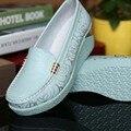 Sapatas Da Mulher Cunhas 100% Genuína Mulheres De Couro Sapatos Da Moda Branco Mulheres Mocassins Tamanho Grande Senhoras Sapatos Chaussure Femmer