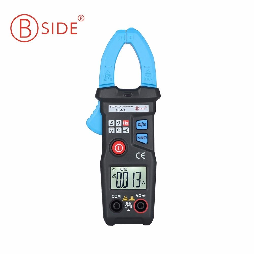 BSIDE ACM24 Intelligente Misura 200A MINI Ditgital AC Current Clamp Meter Multimetro Induzione di Allarme di Tensione