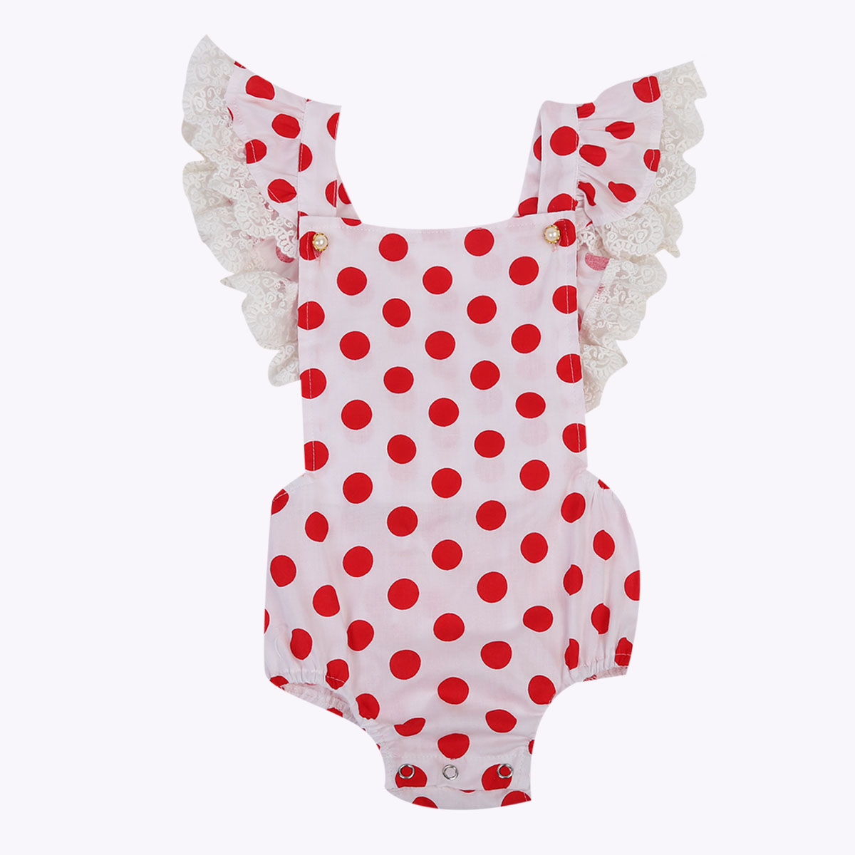 Girls' Baby Clothing Infant Baby Girl Lace Bodysuit Summer Ruffle Sleeve Baby Jumpsuit Overalls Red Dot Baby Clothes 0-24m Superior Performance Mother & Kids