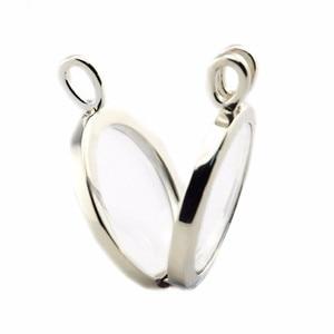 Image 2 - Authentische 925 Sterling Silber Große Schwimmende Medaillon Anhänger Halskette für Frauen Edlen Schmuck 75cm Kette Einstellbar