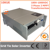 10000W 10KW 180V 1000VDC Three Phase 2 MPPT Transformerless Waterproof IP65 Grid Tie Solar Inverter With