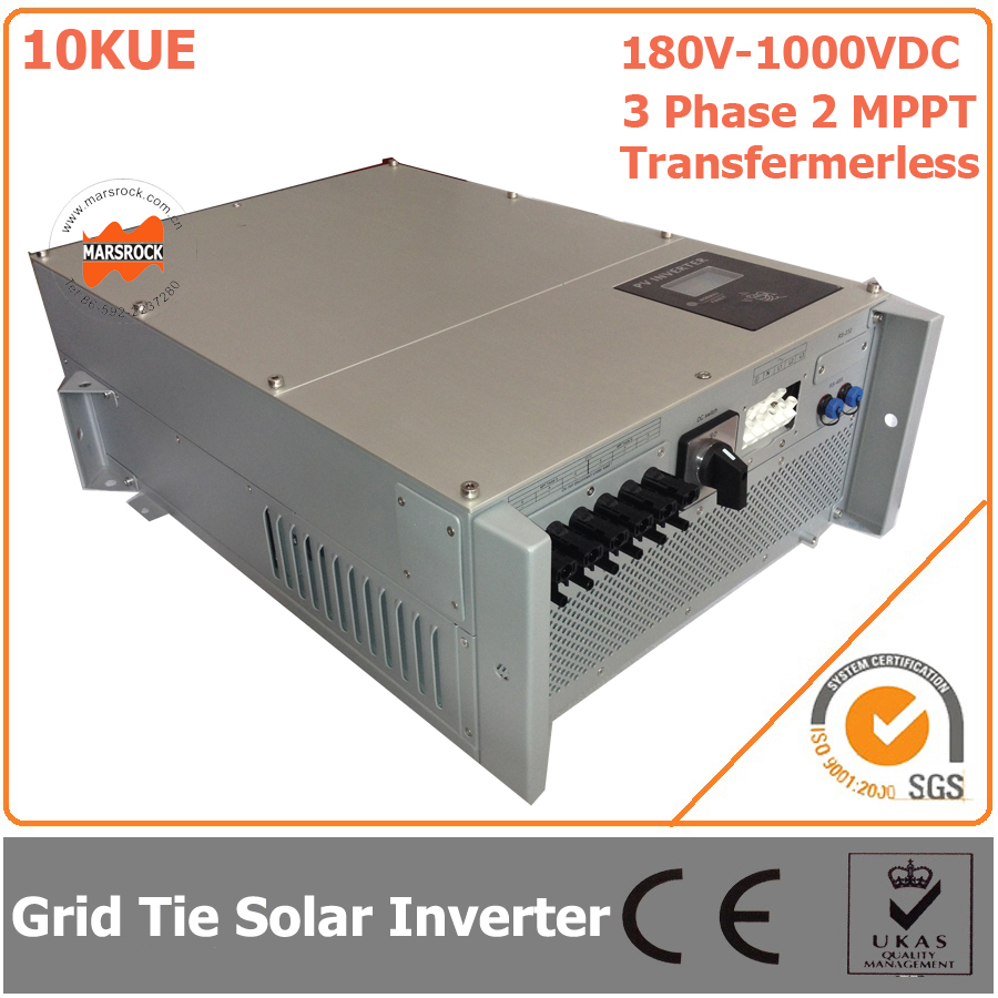 10000W/10KW 180V-1000VDC Three Phase 2 MPPT Transformerless Waterproof IP65 Grid Tie Solar Inverter with CE RoHs Approvals 5000w single phrase on grid solar inverter with 1 mppt transformerless waterproof ip65 lcd display multi language